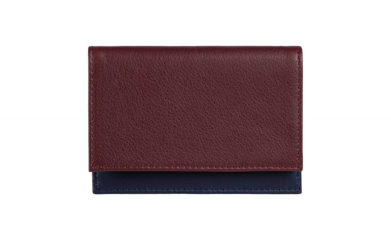 CREAM TYPE 4 business card case in burgundy calfskin leather | TSATSAS