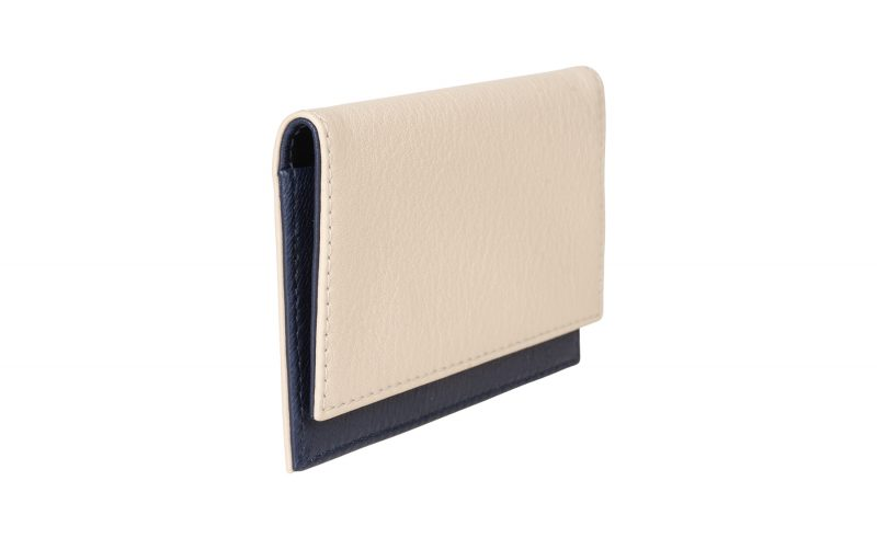 CREAM TYPE 4 business card case in ivory calfskin leather | TSATSAS