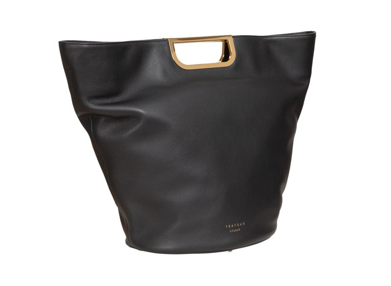 ANOUK tote bag in black calfskin leather | TSATSAS