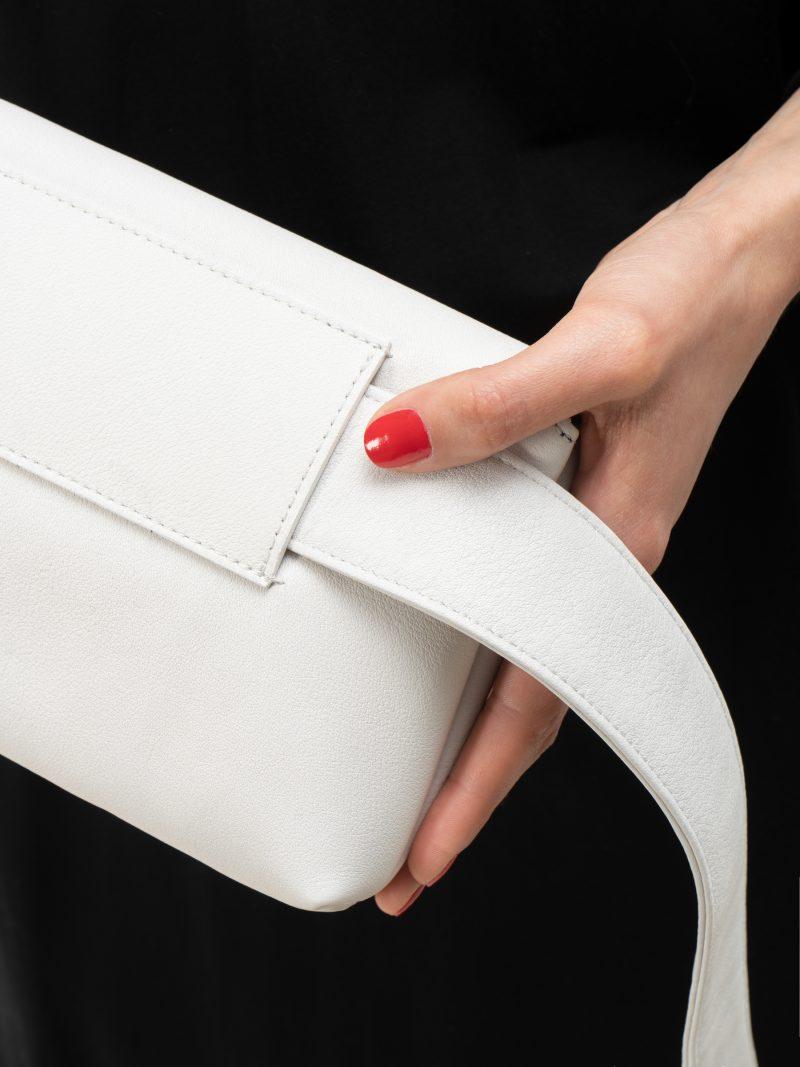 SOMA belt bag in off-white calfskin leather | TSATSAS