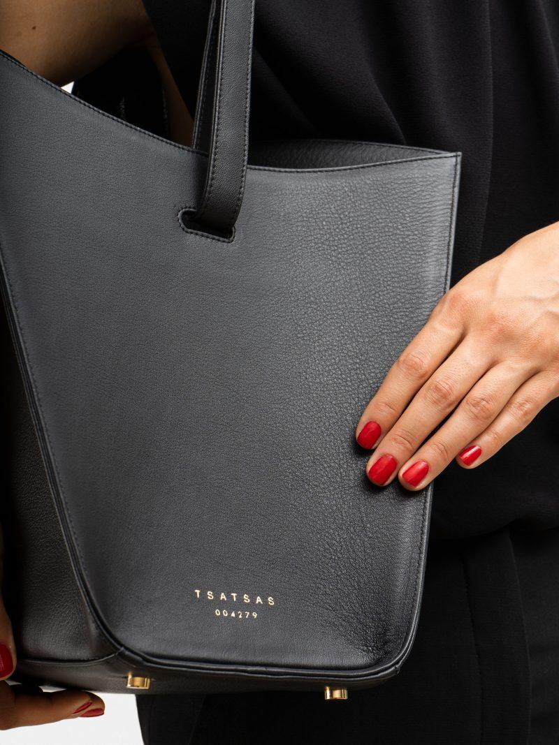 ANNEX tote bag in black calfskin leather   TSATSAS