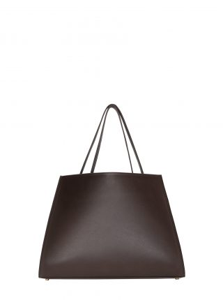 ANNEX tote bag in dark brown calfskin leather | TSATSAS