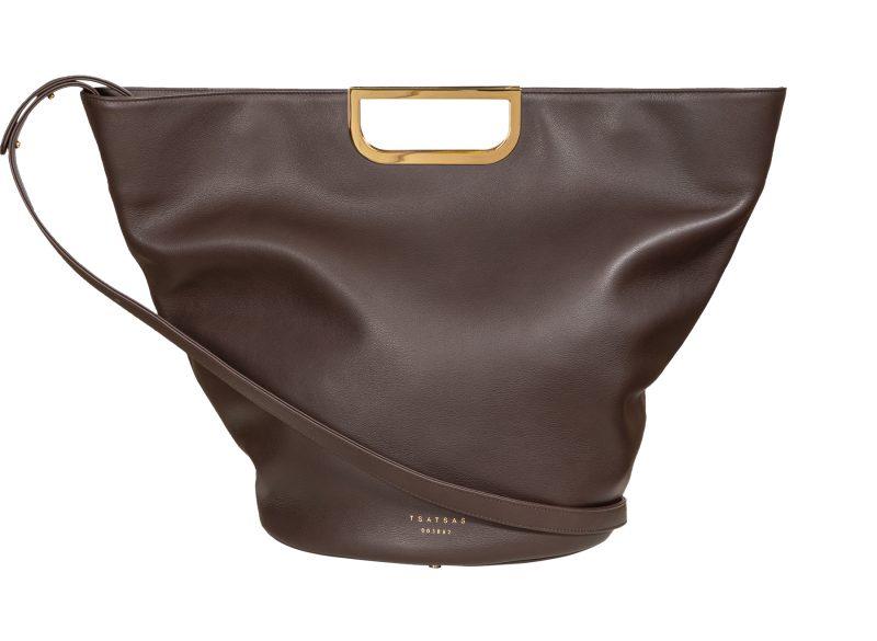 ANOUK tote bag in dark brown calfskin leather | TSATSAS