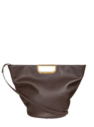 ANOUK tote bag in dark brown calfskin leather | TSATSAS
