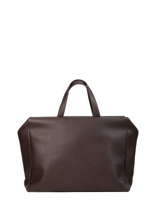 COEN tote bag in dark brown calfskin leather | TSATSAS