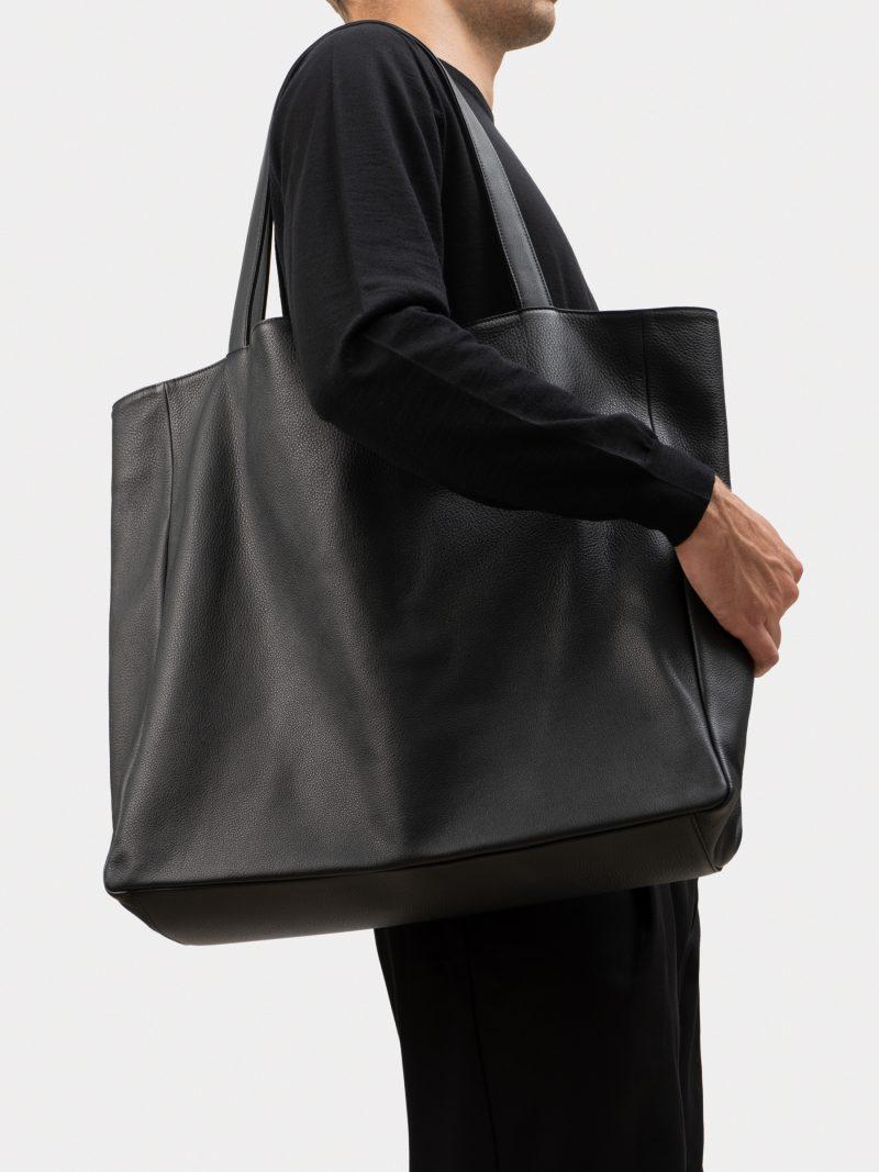 FABER 1 shoulder bag in black calfskin leather | TSATSAS
