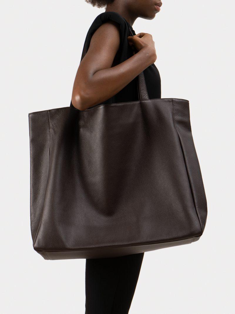 FABER 1 shoulder bag in dark brown calfskin leather | TSATSAS