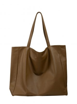FABER 1 shoulder bag in olive brown calfskin leather | TSATSAS