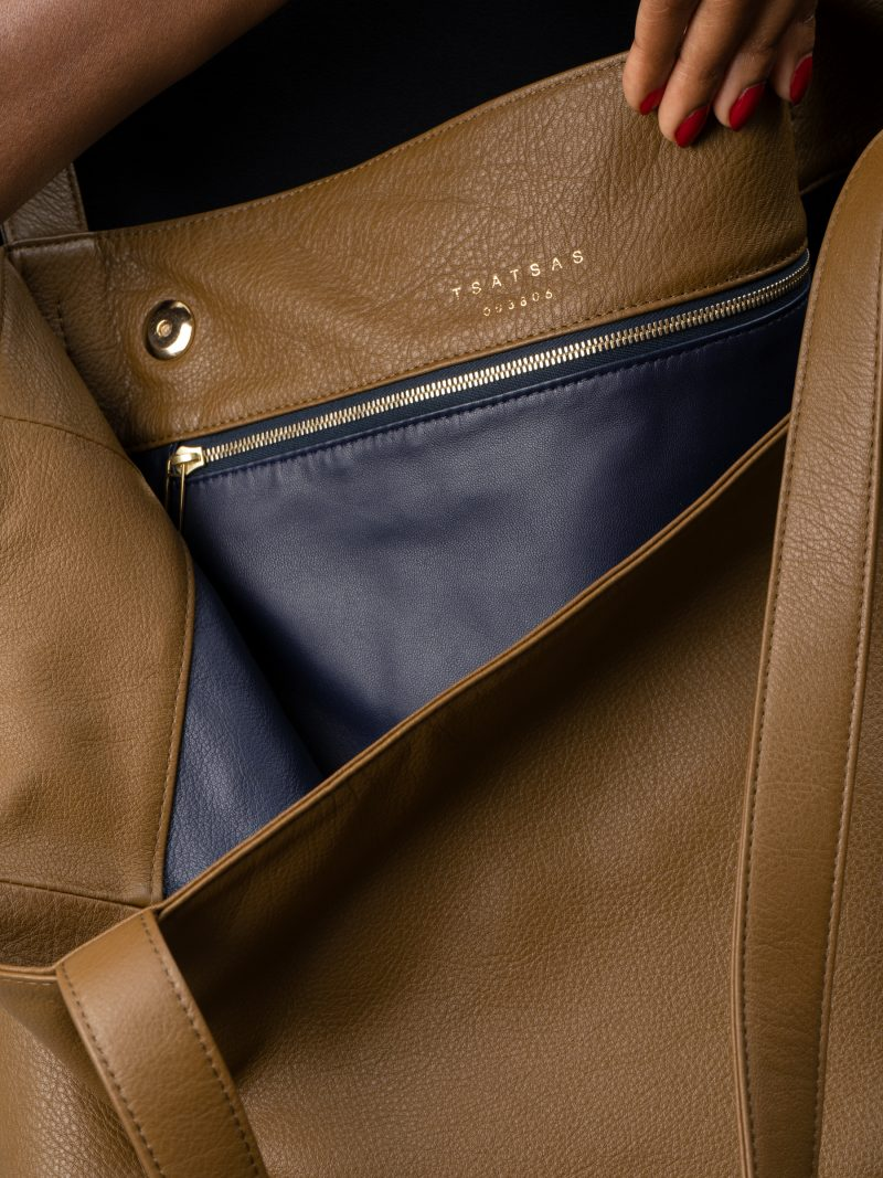 FABER 1 shoulder bag in olive brown calfskin leather | TSATSAS