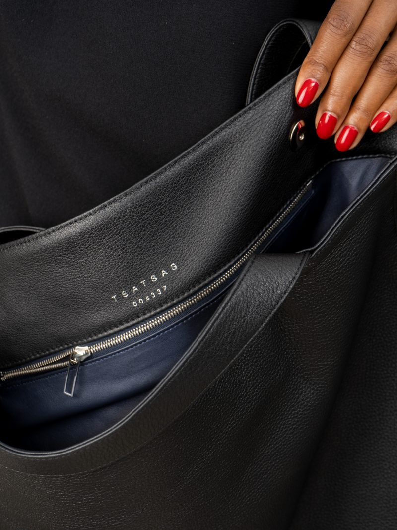 FABER 2 shoulder bag in black calfskin leather | TSATSAS