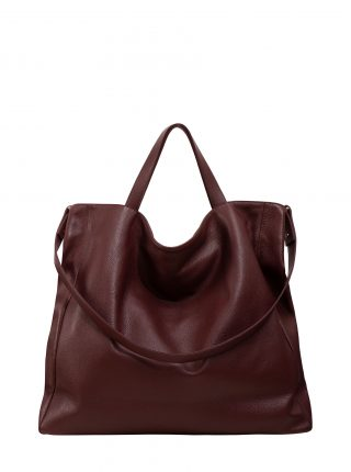 FABER 2 shoulder bag in burgundy calfskin leather | TSATSAS