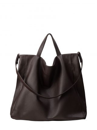 FABER 2 shoulder bag in dark brown calfskin leather | TSATSAS