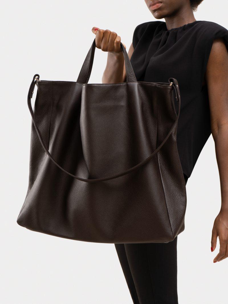 FABER 2 shoulder bag in dark brown calfskin leather | TSATSAS