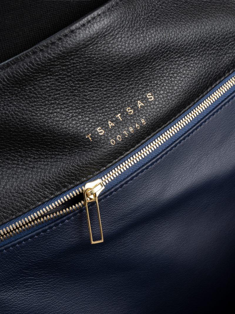 FABER shoulder bag in black calfskin leather | TSATSAS