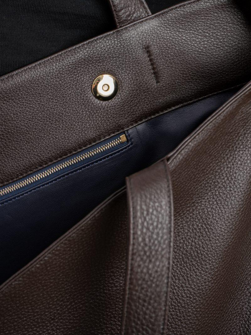 FABER shoulder bag in dark brown calfskin leather | TSATSAS