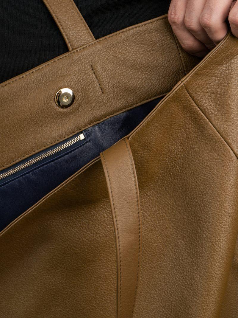 FABER shoulder bag in olive brown calfskin leather | TSATSAS