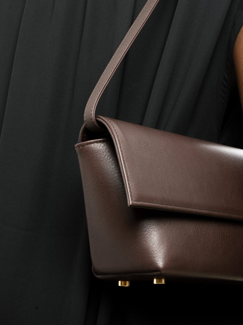 KIRAT shoulder bag in dark brown calfskin leather | TSATSAS