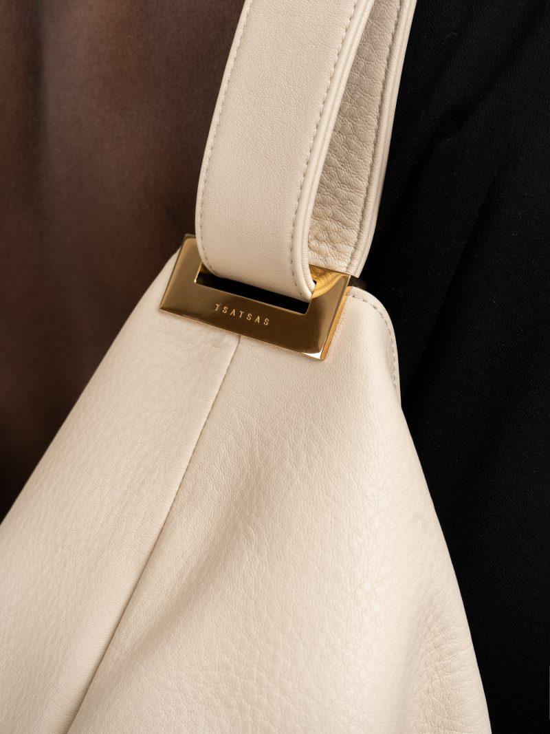 SACAR shoulder bag in ivory calfskin leather | TSATSAS