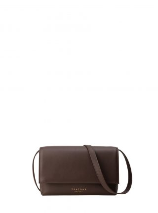 AMOS shoulder bag in dark brown calfskin leather | TSATSAS