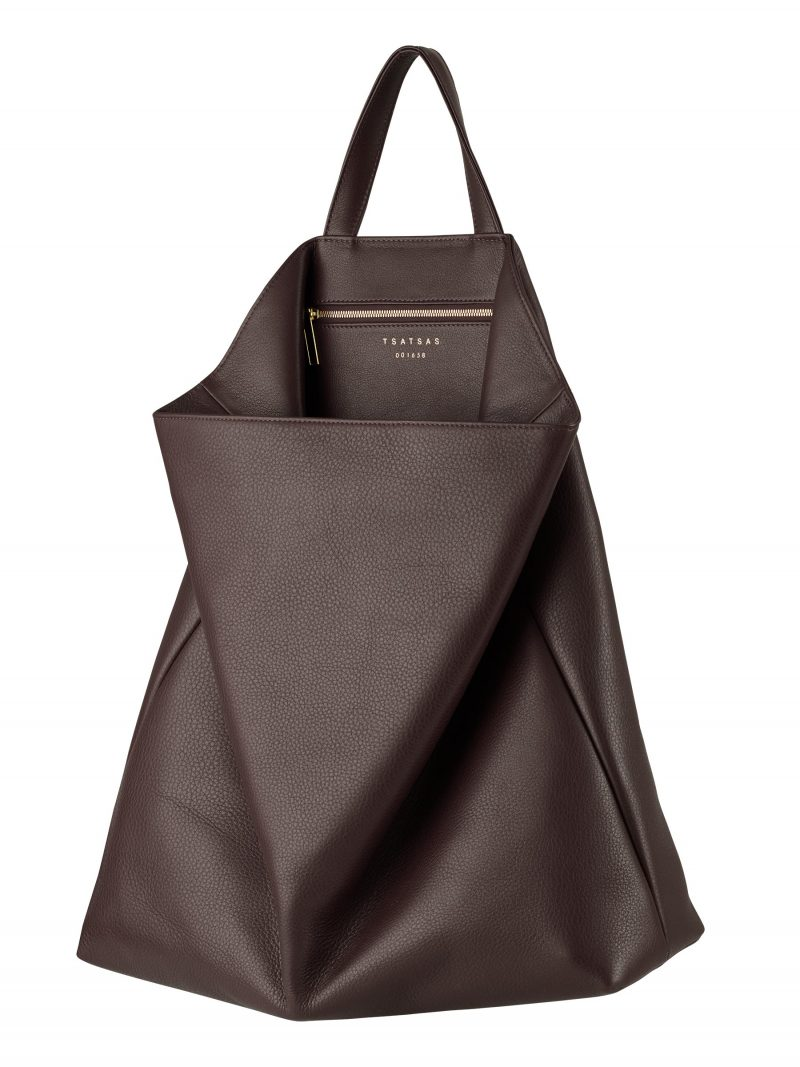 FLUKE tote bag in dark brown calfskin leather | TSATSAS