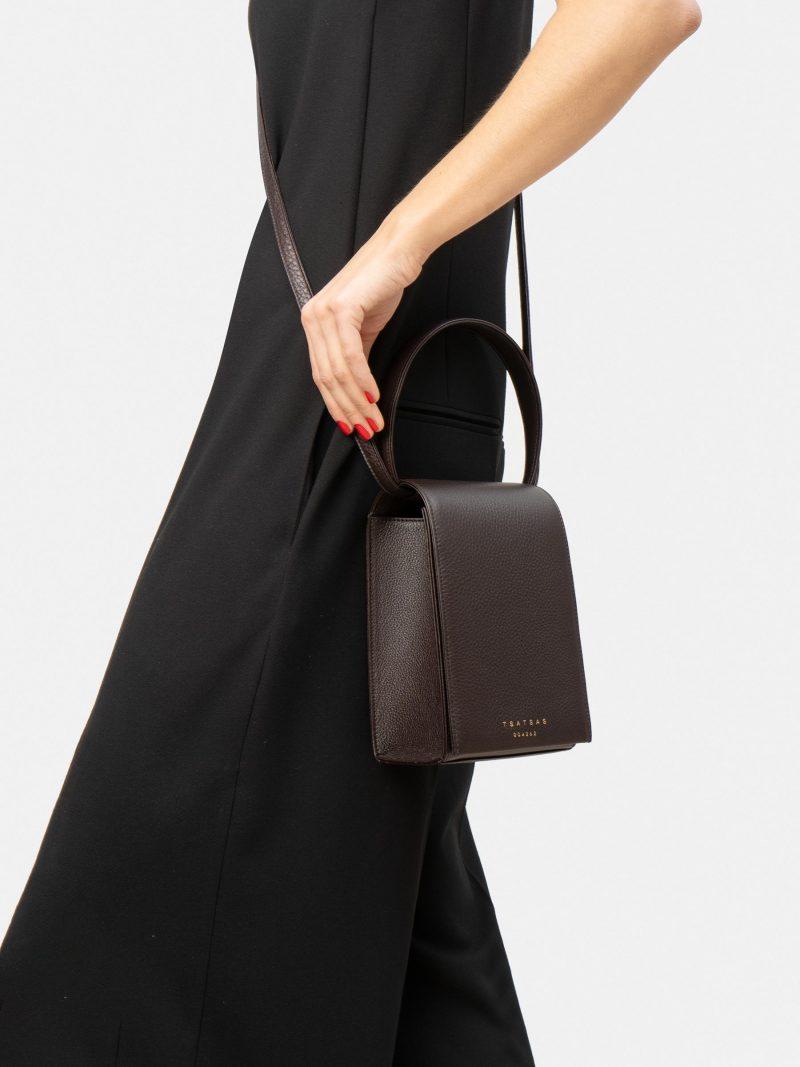 MALVA 3 hand bag in dark brown calfskin leather | TSATSAS
