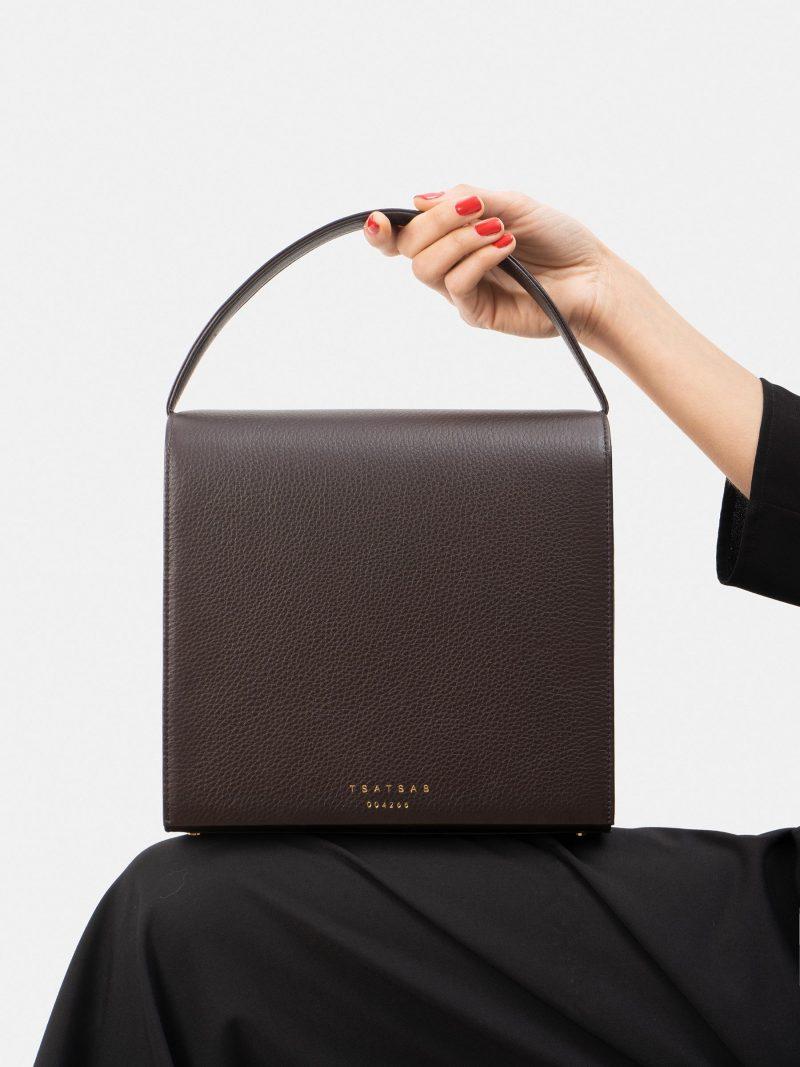 MALVA 5 hand bag in dark brown calfskin leather | TSATSAS