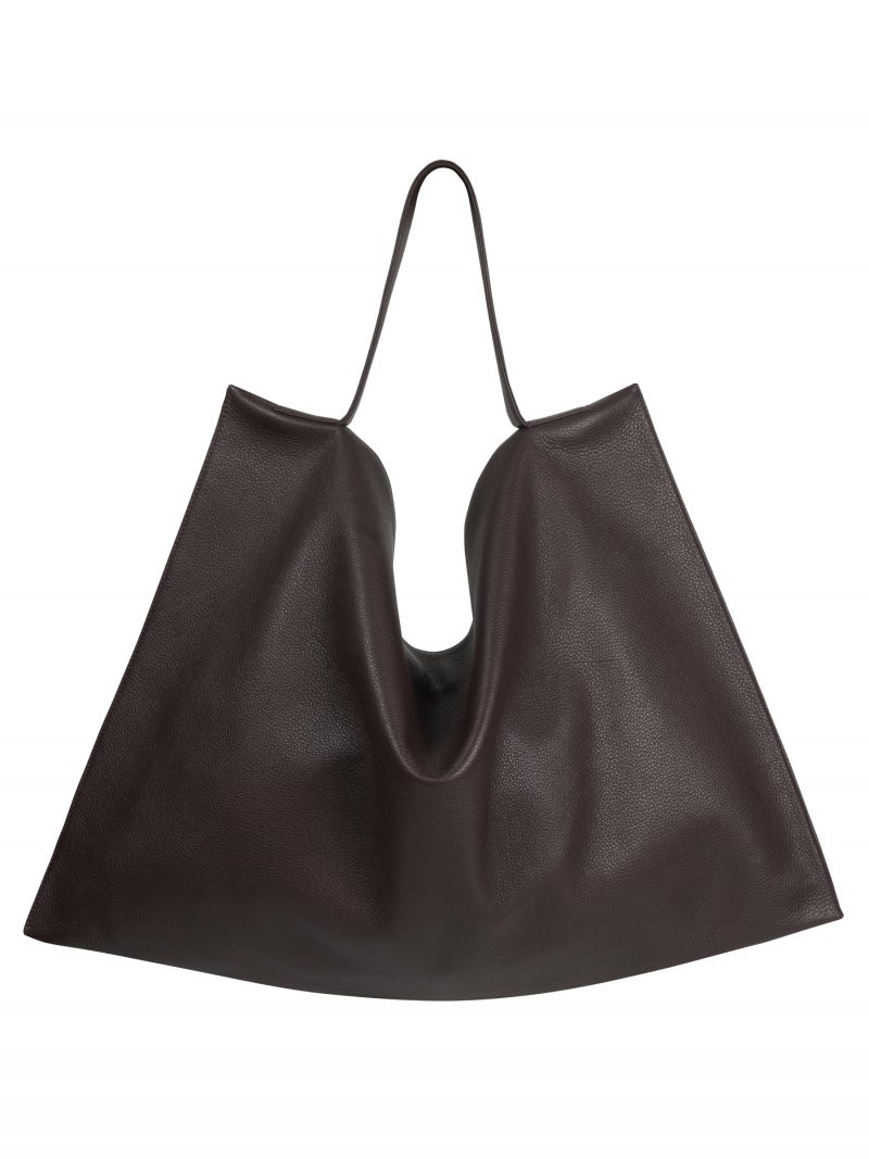 NATHAN shoulder bag in dark brown calfskin leather | TSATSAS