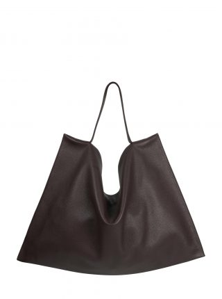 NATHAN shoulder bag in dark brwon calfskin leather | TSATSAS
