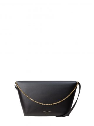 OLIVE L shoulder bag in black calfskin leather | TSATSAS