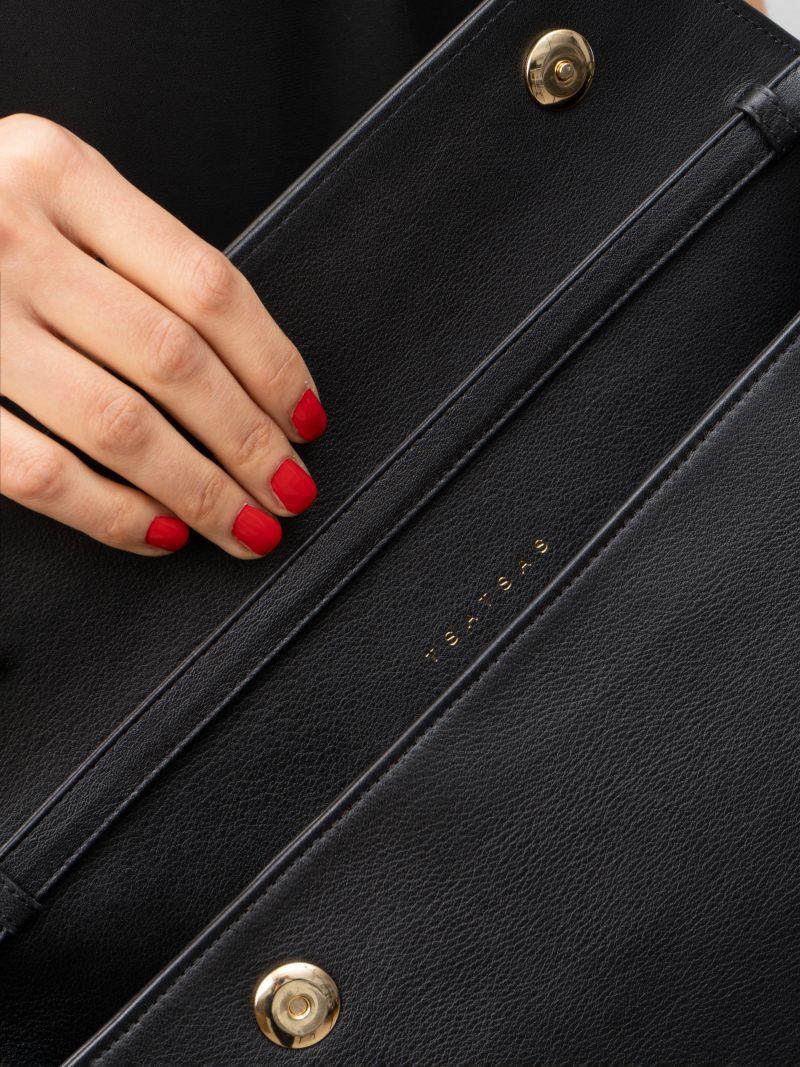 OLIVE L shoulder bag in black calfskin leather | TSATSAS