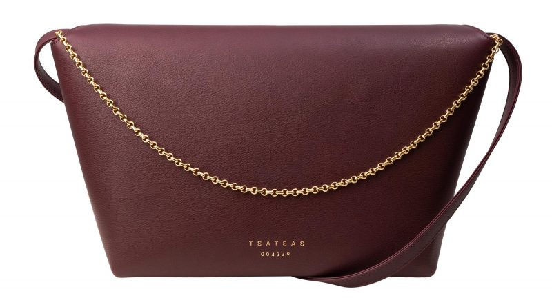 OLIVE L shoulder bag in burgundy calfskin leather | TSATSAS