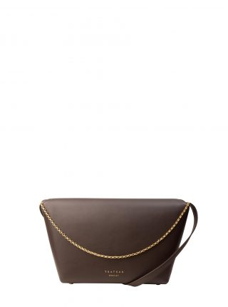 OLIVE L shoulder bag in dark brown calfskin leather | TSATSAS
