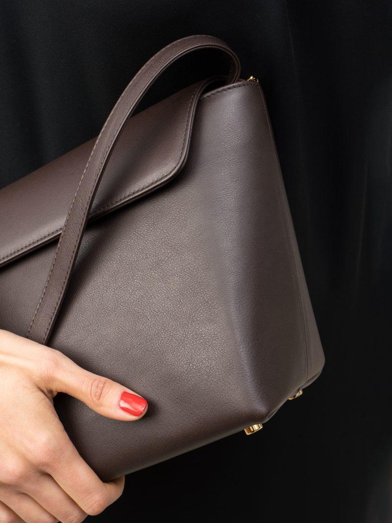 OLIVE L shoulder bag in dark brown calfskin leather | TSATSAS