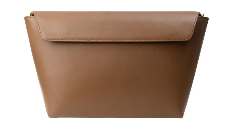 OLIVE L shoulder bag in fawn brown calfskin leather | TSATSAS