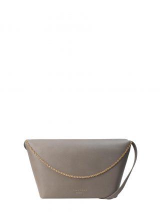 OLIVE L shoulder bag in grey calfskin leather | TSATSAS