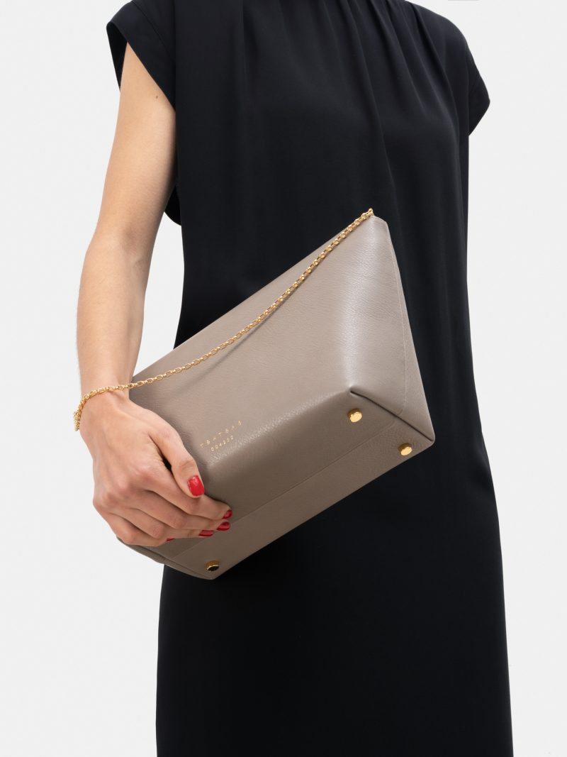 OLIVE L shoulder bag in grey calfskin leather | TSATSAS