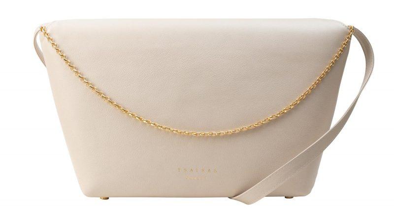 OLIVE L shoulder bag in ivory calfskin leather | TSATSAS