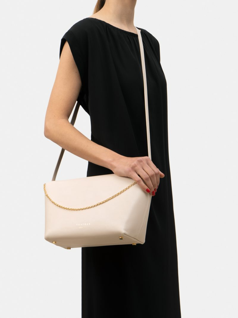 OLIVE L shoulder bag in ivory calfskin leather | TSATSAS