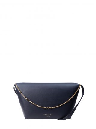 OLIVE L shoulder bag in navy calfskin leather | TSATSAS
