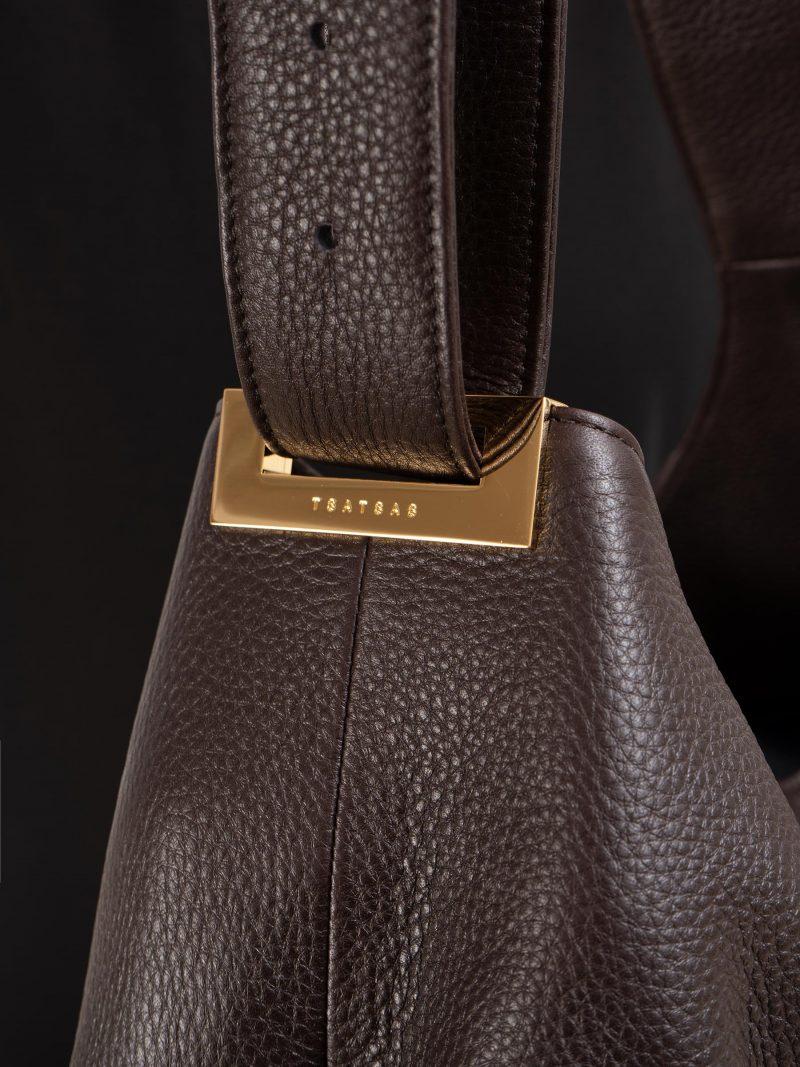 SACAR S shoulder bag in dark brown calfskin leather | TSATSAS