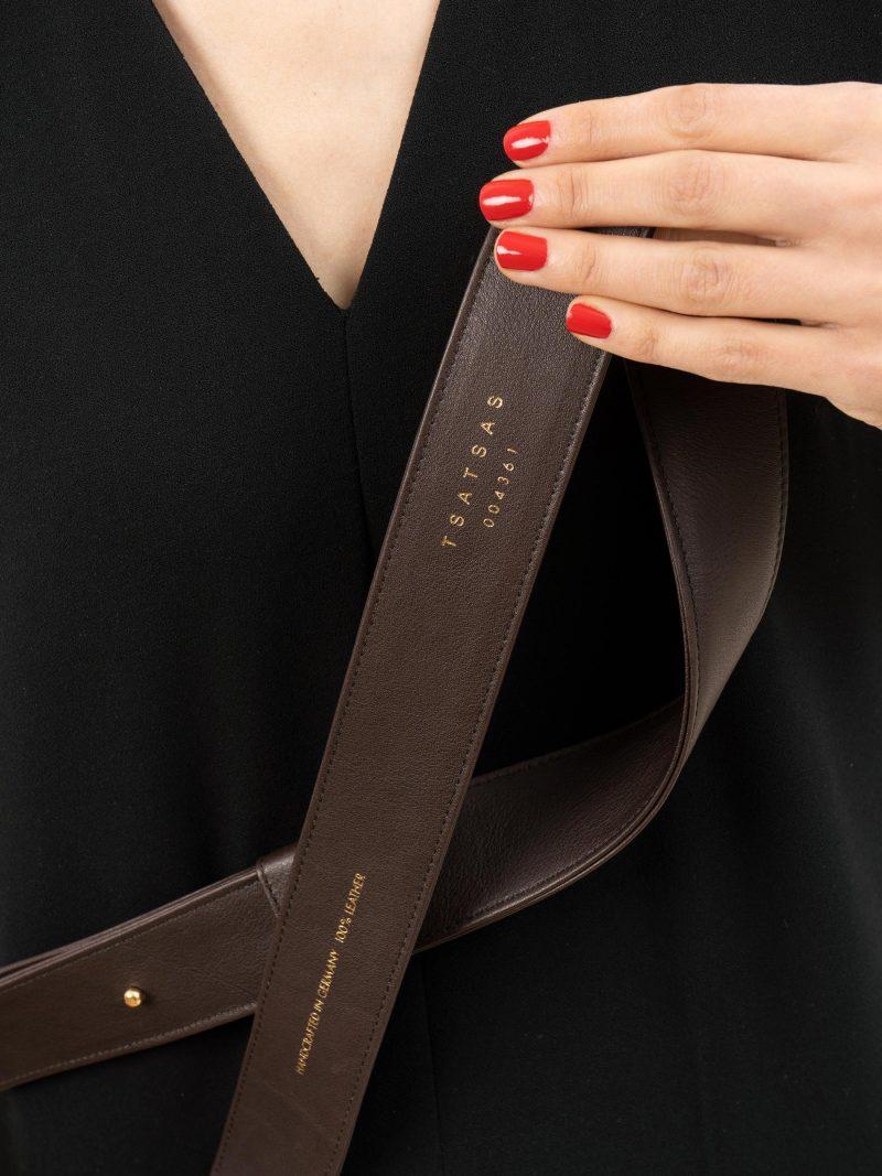 SOMA belt in dark brown calfskin leather | TSATSAS