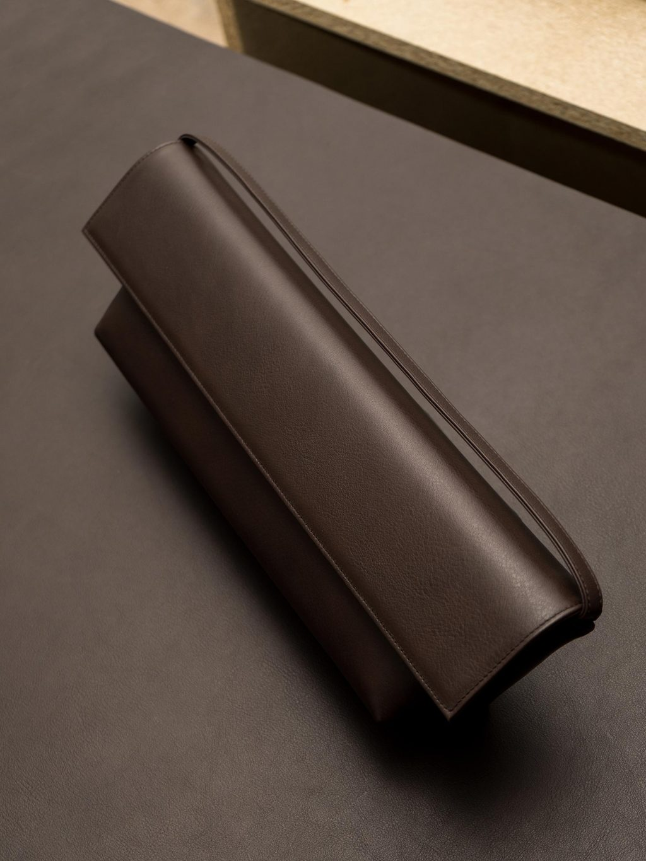 KIRAT shoulder bag in dark brown calfskin leather | TSATSAS