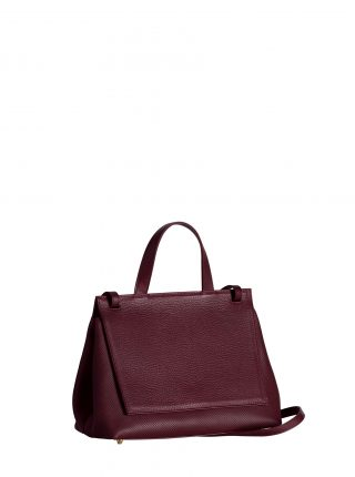ADA shoulder bag in perforated burgundy calfskin leather | TSATSAS