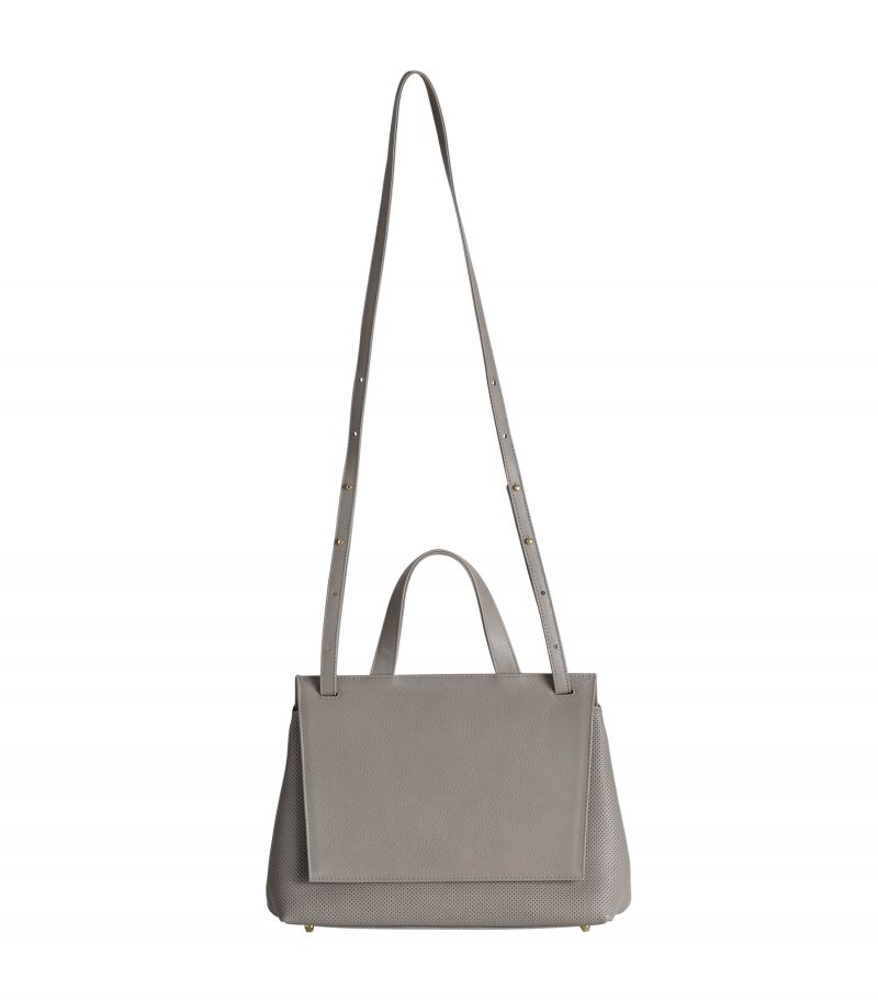 ADA shoulder bag in perforated grey calfskin leather | TSATSAS