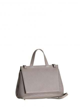 ADA shoulder bag in perforated grey calfskin leather | TSATSAS