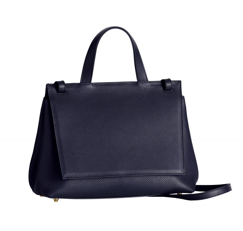 ADA shoulder bag in perforated navy blue calfskin leather | TSATSAS