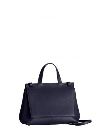 ADA shoulder bag in perforated navy blue calfskin leather | TSATSAS