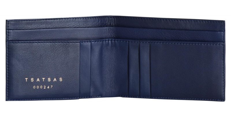 CREAM TYPE 6 wallet in pacific blue lamb nappa leather | TSATSAS