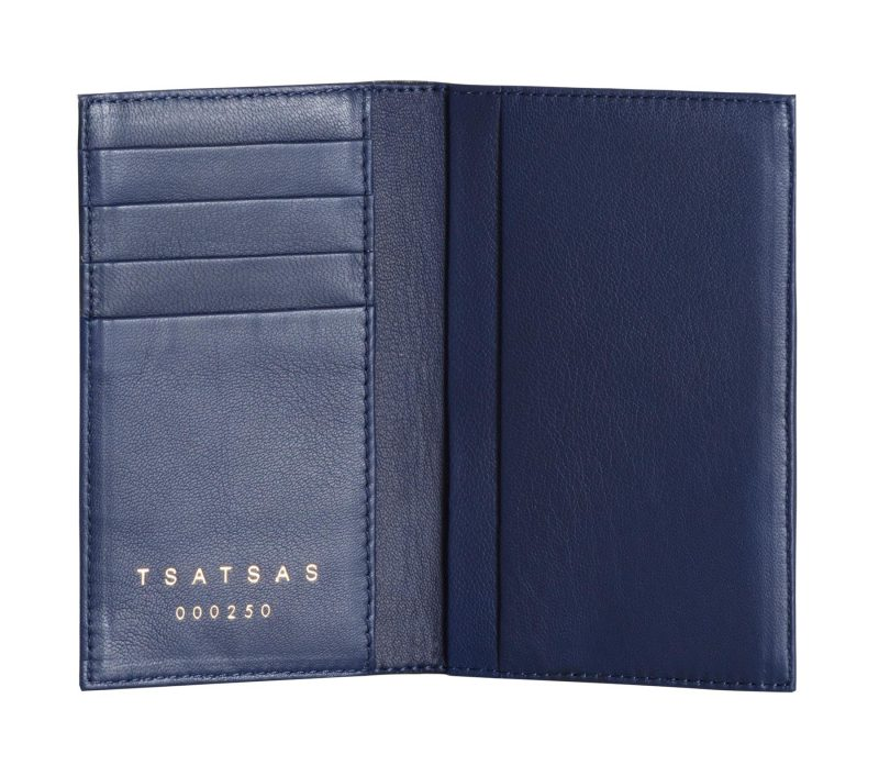 CREAM TYPE 7 wallet in pacific blue lamb nappa leather | TSATSAS