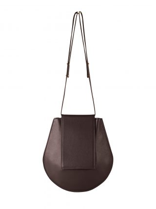 CY shoulder bag in dark brown calfskin leather | TSATSAS